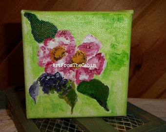 Acrylic painting, Acrylic Flower, Pink Flower, Canvas Painting, 4 x 4 inch, Green, Pink, Raspberry Blooms, Original art, ArtFromTheCabin