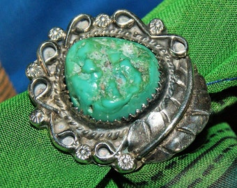 EARLY HOPI TURQUOISE Ring Sterling c1960