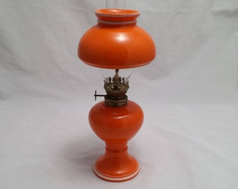 Vintage 4 piece Orange Glass Kerosene Oil Lamp - Nice condition, Country Chic, Cottage, Country Home, Western