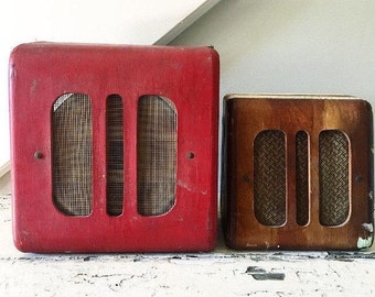 Vintage Speaker Intercom Red Wood Art Deco