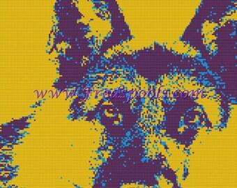 Dog Cross Stitch, Counted Cross Stitch Kit, German Shepard Cross Stitch Kit, Modern Dog Art
