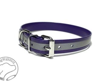 "Amethyst Purple Reflective Dog Collar - 1"" Wide / 25mm - Biothane Dog Collar - Waterproof Dog Collar"