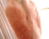 French Mademoiselle elegance fluffy quality faux fur coral pink thick scarf wrap shawl winter warm romantic