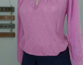 1980's Vintage Purply-Pink Light Weight Raglan Sleeve Womens Sweater
