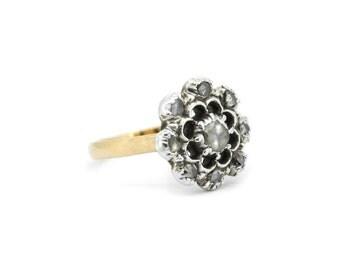The Georgian Floria Ring - Rose Cut Diamond Rose Gold Cluster Ring