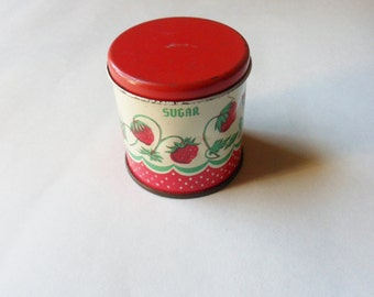 Toy Sugar Canister, Wolverine Strawberry Canister, Miniature Metal Canister