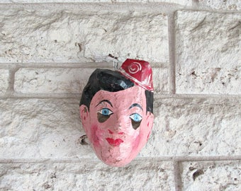 Vintage Children's Mask 50's Paper Mache Mask Cartonería Bell Hop Child's Mask Vintage Halloween