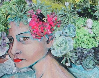 "Garden Head Portrait Print/ Bee Succulents Buddha Native Plants/ San Francisco Twin Peaks/ Market Street/ City Garden / 10x6.9"" Print"