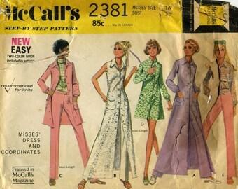 70s Dress, Jacket & Pants Pattern McCalls 2381 Size 16 Uncut