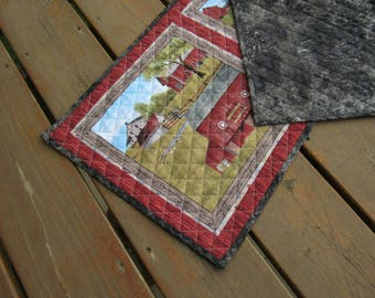 Table Runner, Table topper, quilted table runner, Dresser Scarf, Amish, barn quilt, horse, buggy, rustic, Amish runner