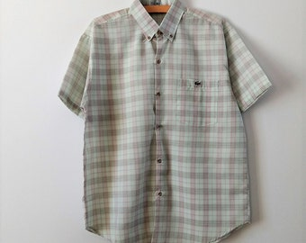 vintage Lacoste shirt, Chemise Lacoste, short sleeved shirt, button down men's shirt, medium