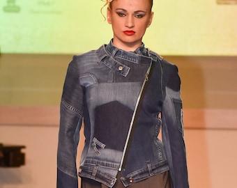 Upcycled denim jacket / Recycled jeans jacket / Zipper jacket / Unique jacket