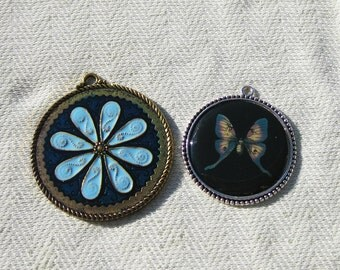 Butterfly and Flower Charms - Jewelry Making Supplies - 2 pcs
