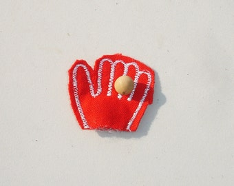 Vintage Baseball Mitt & Ball Doll House Miniature - 1/12 Scale