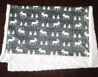Moose Baby Boy Blanket - Boy Baby MINKY Blanket, Minky Baby Blanket, Grey Moose Baby Blanket, Ready to Ship Baby Blanket, Woodland Nursery
