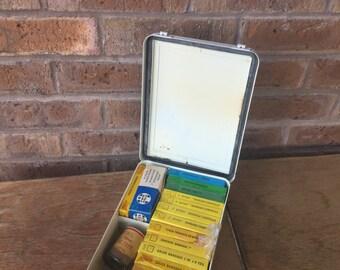 Vintage First Aid Kit in Metal Case