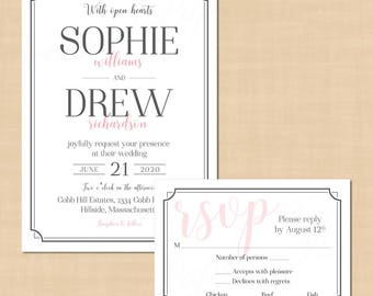 "Art Deco Border Wedding Invitation RSVP Package, Pewter Grey (Portrait, 5""x7""): Text-Editable in Word®, Printable Instant Download"