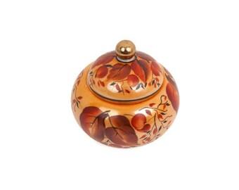 Vintage Dobrush Porcelain Belarus Trinket Box Jewelry Box Hand Work Covered Jar Ginger Jar
