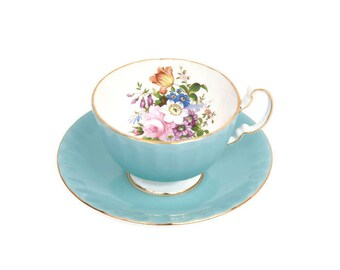 Vintage AYNSLEY Turquoise Footed Teacup and Saucer F HOWARD Fine Bone China Made in England Hand Painted Floral Gilded Tea Party English Tea