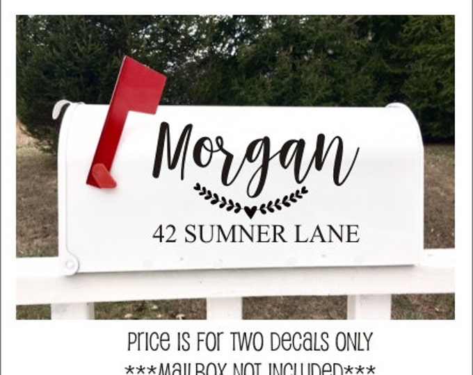 Mailbox Address Decal Set of Two Vinyl Name and Address for Mailbox Vinyl Decals Various Sizes Farmhouse Decals Rustic Laurel Heart Mailbox