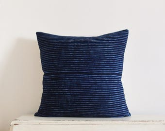 "SALE - African indigo stitch resist pillow cushion cover 22"" x 22"""