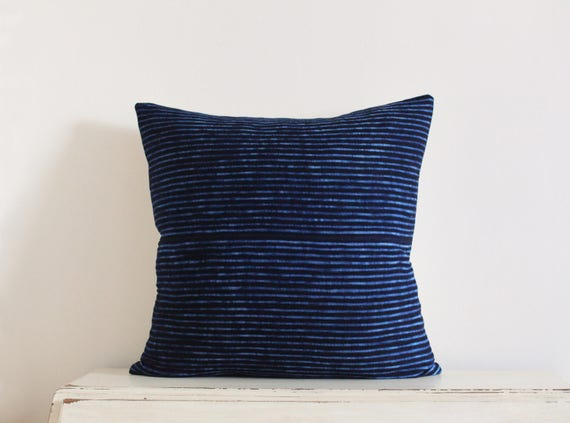 "SALE - African indigo stitch resist pillow cushion cover 20"" x 20"""