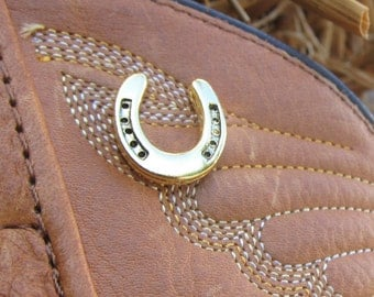Gold Horseshoe Lapel Pin- Lucky Pins- Pins for Luck- Cowboy Pins- Rodeo