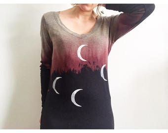 Dipped Dyed Crescent Moon Long Sleeve Top