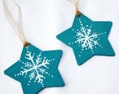 Christmas Decoration Teal Snowflake Stars Set of Two