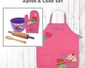 Personalized Cupcake Apron & Cook Set, Stephen Joseph Quilted Apron, Monogram Toddler Apron, kids Cooking Set, Cupcakes