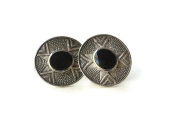 Vintage Patterned Sterling Silver & Onyx Stud Earrings