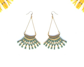 """Statement Green weaving earrings, Pine green and Gold, Half Moon gold plated 24 k french hooks high quality """"Résille"""""""