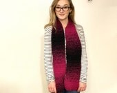 Crocheted Pink and Black Gradient Scarf (READY TO SHIP!)