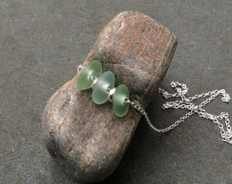 Sea glass jewelry,  Sea foam green sea glass and sterling silver necklace