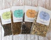 TEA SAMPLES / Organic Loose Leaf / Generous 8 Serving Size / Tea Favors / Full Half Ounce Samples / You Choose / Herbal Sample