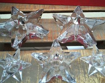 Set of Five Thick Glass Star Shaped Taper Candle Holders/  Christmas Candle Holders/Heavy Beautiful Christmas Table Decor