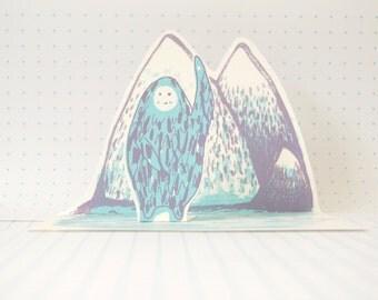 Pop Up Screen Printed Card - A Friendly Yeti
