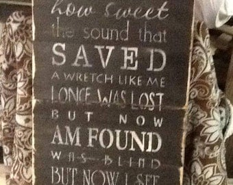 Hand Made Amazing Grace Distressed Pallet Sign, Pallet Sign, Wooden Sign, Rustic Sign, Amazing Grace Sign