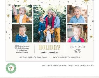 Christmas, Holiday Mini Session Template, Marketing Board, Blog Board, Advertising - E61