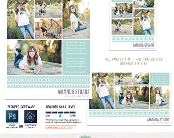 Yearbook Ad TEMPLATES, Senior Ad, Graduation Ad, High School, Middle School, College - Full Page, Half Page and Quarter Page Included - Y20