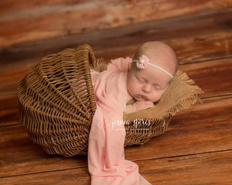 Delicate Newborn Pink Flower Headband, Baby Girl, Photo Prop, Baby Gift, Spring, Easter