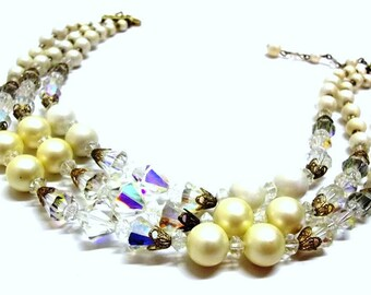 Three Strand Crystal Pearl Necklace Ivory White Satin Pearl Beads AB Crystal 3 Strand Necklace Pearl Crystal Bridal Necklace Prom DD 563