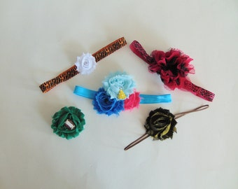 Grab Bag - 5 for 5 Dollars - Assorted Baby Girl Headbands - Little Girls Hair Bow Accessories - Toddler Hairbows - Ready To Ship Gift Set C3