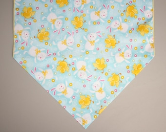 """Easter Table Runner, Large 72"""" Table Runner, Yellow Chicks and White Bunnies, Easter Home Decor, Easter Table"""