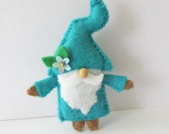 Gnome pin, felt gnome brooch, gnome collector, gnome gifts, whimsical pin, handmade gnome, gnome lover, wee folk, gnome jewelry, turquoise
