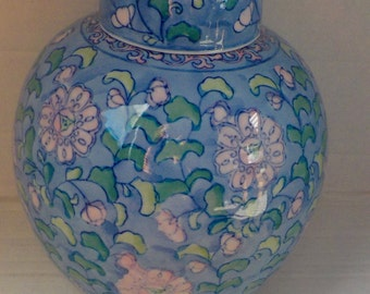 Blue & Pink Chinoiserie Retro Ginger Jar