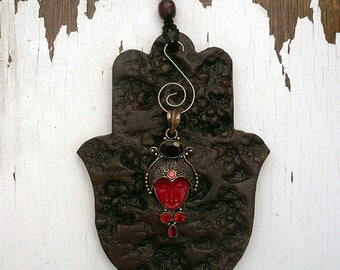 Hamsa Mask Wall Decor, Face Red Coral Hamsa Wall Decor, Ceramic Hamsa W/ Art Piece Jewelry that can be worn as a Necklace Nickel & Lead free