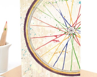 Watercolour Rainbow Bicycle Wheel - Greeting card