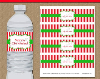 Christmas Water Bottle Labels, EDITABLE Printable Christmas Drink Wrappers, Downloadable Christmas Template, Christmas Party Decor - CSV