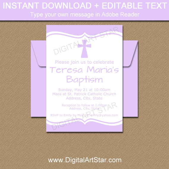 lavender baptism invitation template printable first communion download digital baptism sign. Black Bedroom Furniture Sets. Home Design Ideas